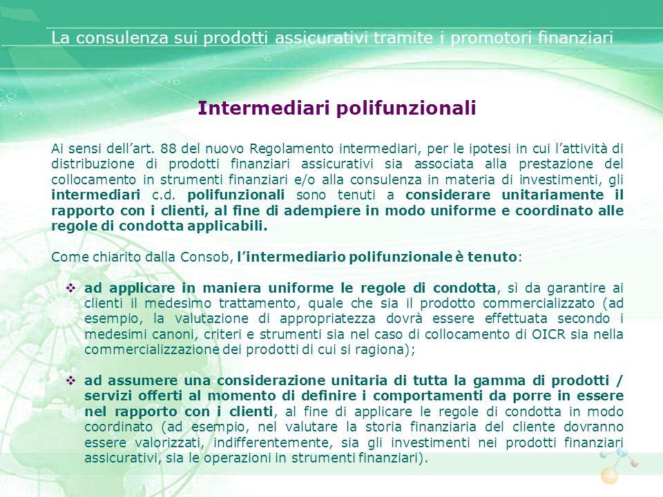Intermediari polifunzionali Ai sensi dellart. 88 del nuovo Regolamento intermediari, per le ipotesi in cui lattività di distribuzione di prodotti fina