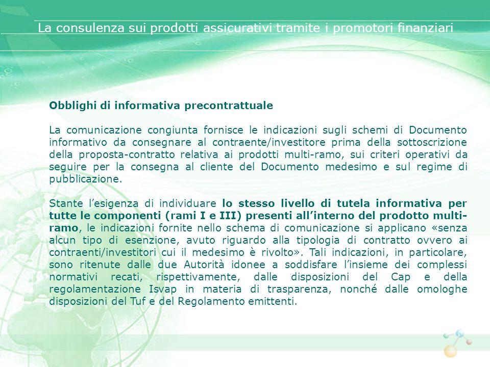 Obblighi di informativa precontrattuale La comunicazione congiunta fornisce le indicazioni sugli schemi di Documento informativo da consegnare al cont