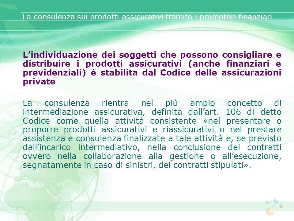 La consulenza sui prodotti assicurativi tramite i promotori finanziari La riserva relativa alla distribuzione dei prodotti assicurativi si estende anche a quelli aventi natura previdenziale.