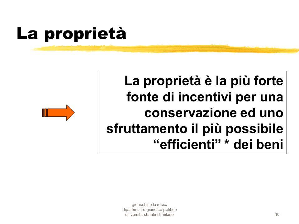gioacchino la rocca dipartimento giuridico politico università statale di milano10 La proprietà La proprietà è la più forte fonte di incentivi per una