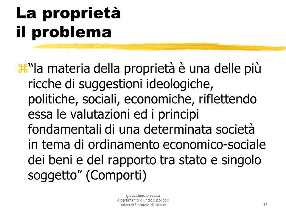 gioacchino la rocca dipartimento giuridico politico università statale di milano13 La proprietà il problema zla materia della proprietà è una delle pi