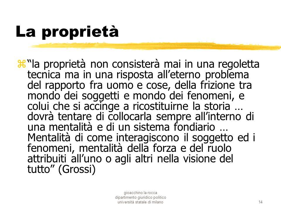 gioacchino la rocca dipartimento giuridico politico università statale di milano14 La proprietà zla proprietà non consisterà mai in una regoletta tecn