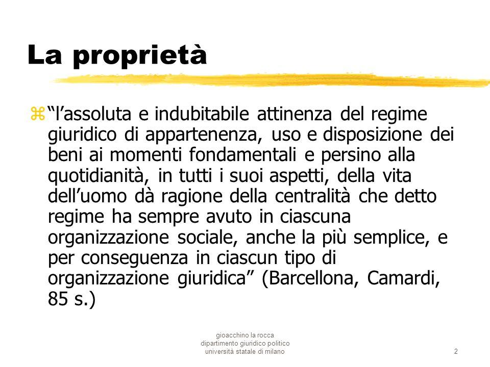 gioacchino la rocca dipartimento giuridico politico università statale di milano2 La proprietà zlassoluta e indubitabile attinenza del regime giuridic