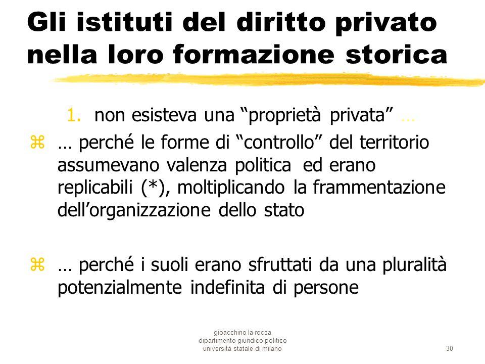 gioacchino la rocca dipartimento giuridico politico università statale di milano30 Gli istituti del diritto privato nella loro formazione storica 1.no
