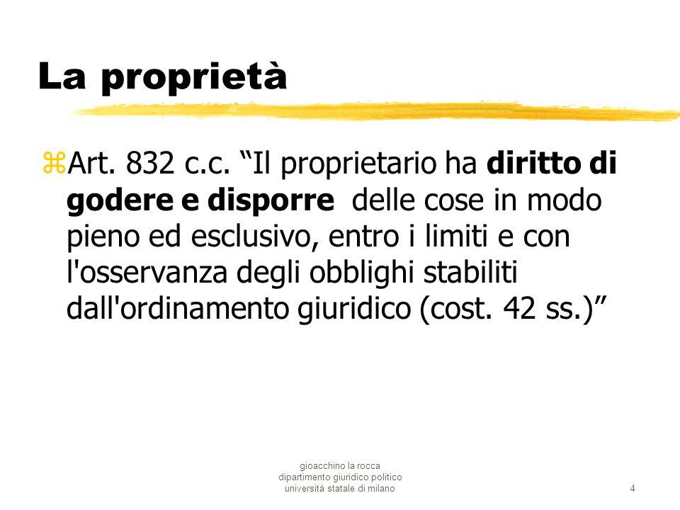 gioacchino la rocca dipartimento giuridico politico università statale di milano4 La proprietà zArt. 832 c.c. Il proprietario ha diritto di godere e d