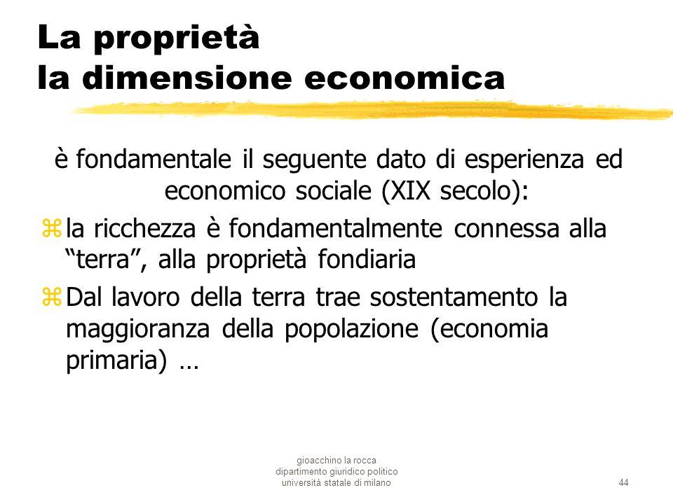 gioacchino la rocca dipartimento giuridico politico università statale di milano44 La proprietà la dimensione economica è fondamentale il seguente dat
