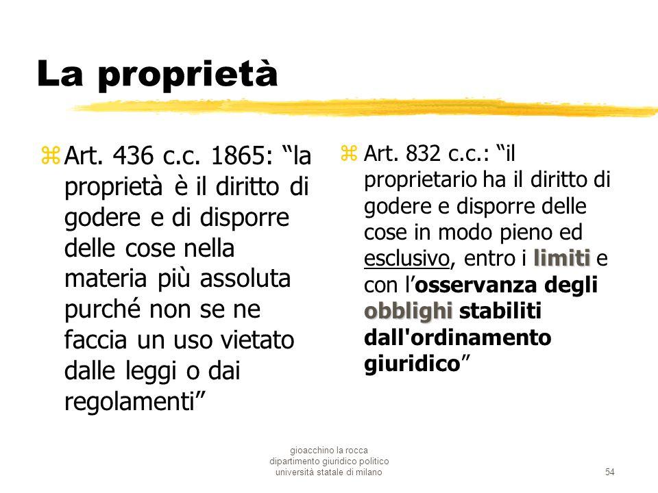 gioacchino la rocca dipartimento giuridico politico università statale di milano54 La proprietà zArt. 436 c.c. 1865: la proprietà è il diritto di gode