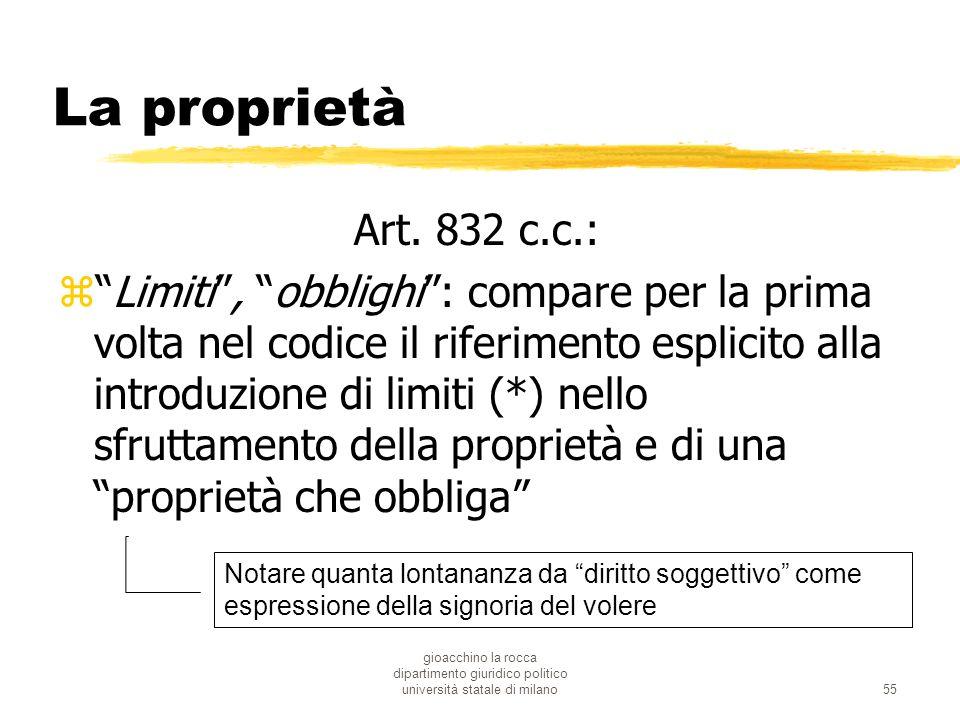 gioacchino la rocca dipartimento giuridico politico università statale di milano55 La proprietà Art. 832 c.c.: zLimiti, obblighi: compare per la prima