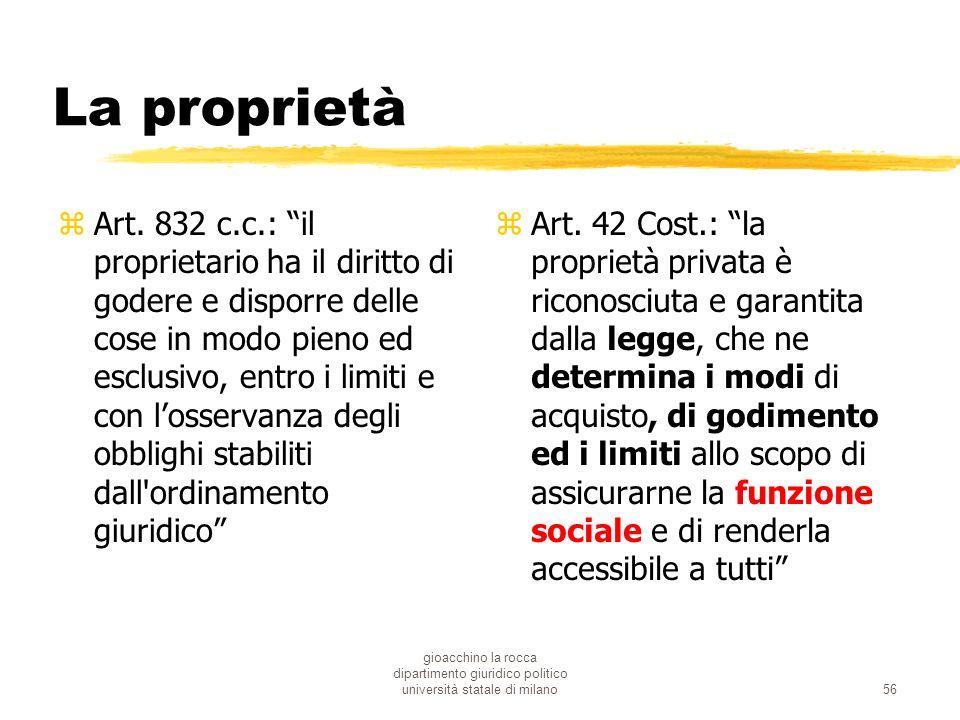 gioacchino la rocca dipartimento giuridico politico università statale di milano56 La proprietà zArt. 832 c.c.: il proprietario ha il diritto di goder