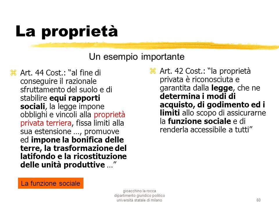 gioacchino la rocca dipartimento giuridico politico università statale di milano60 La proprietà zArt. 42 Cost.: la proprietà privata è riconosciuta e