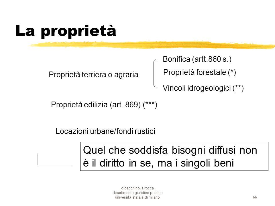 gioacchino la rocca dipartimento giuridico politico università statale di milano66 La proprietà Proprietà terriera o agraria Bonifica (artt.860 s.) Vi