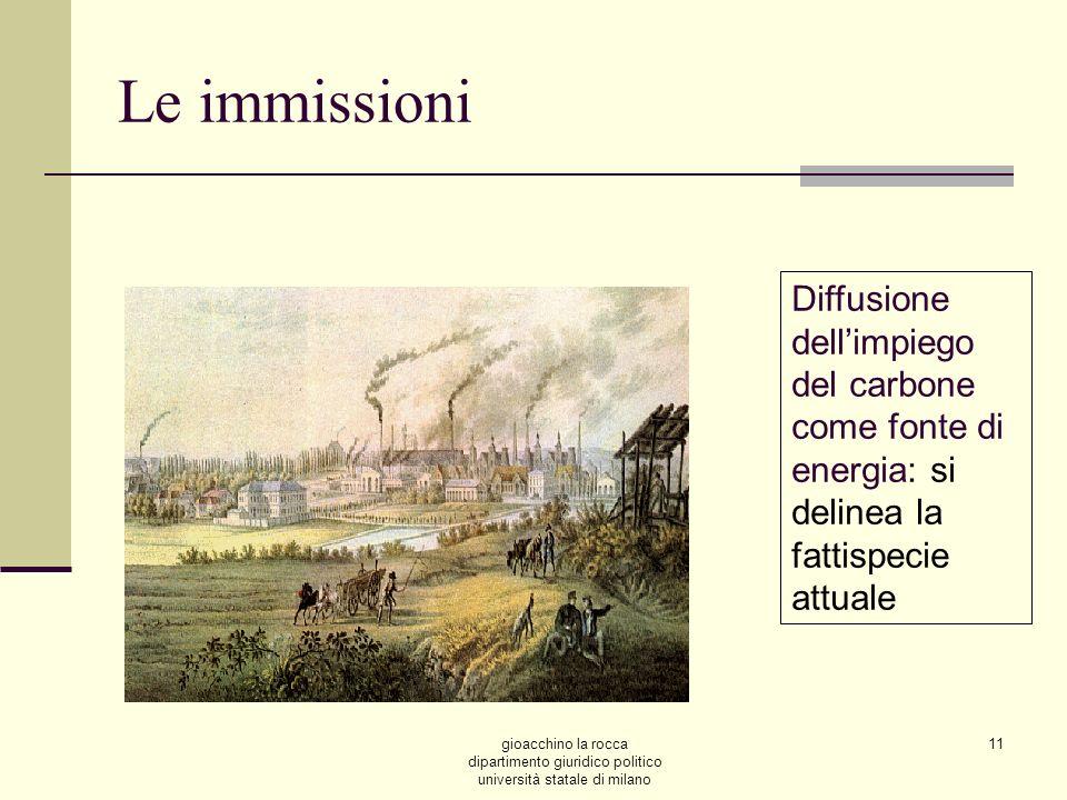 gioacchino la rocca dipartimento giuridico politico università statale di milano 11 Le immissioni Diffusione dellimpiego del carbone come fonte di energia: si delinea la fattispecie attuale