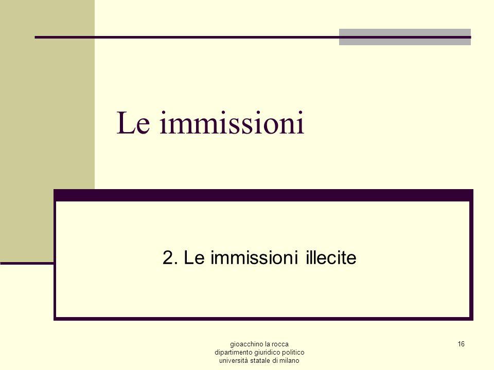 gioacchino la rocca dipartimento giuridico politico università statale di milano 16 Le immissioni 2.