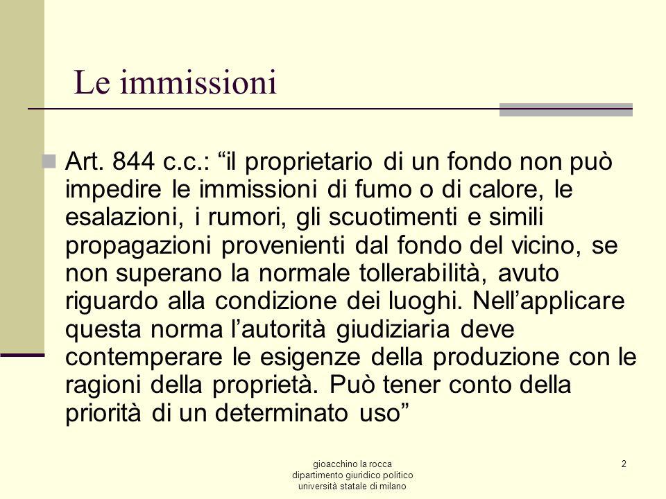 gioacchino la rocca dipartimento giuridico politico università statale di milano 2 Le immissioni Art.