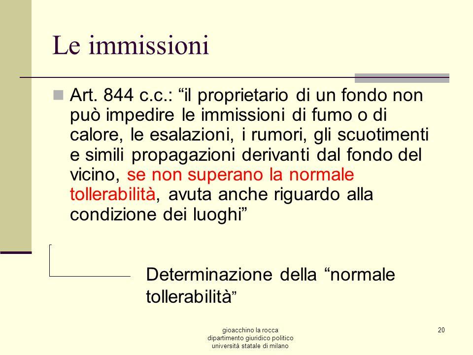 gioacchino la rocca dipartimento giuridico politico università statale di milano 20 Le immissioni Art.