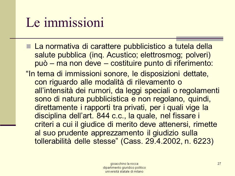 gioacchino la rocca dipartimento giuridico politico università statale di milano 27 Le immissioni La normativa di carattere pubblicistico a tutela della salute pubblica (inq.