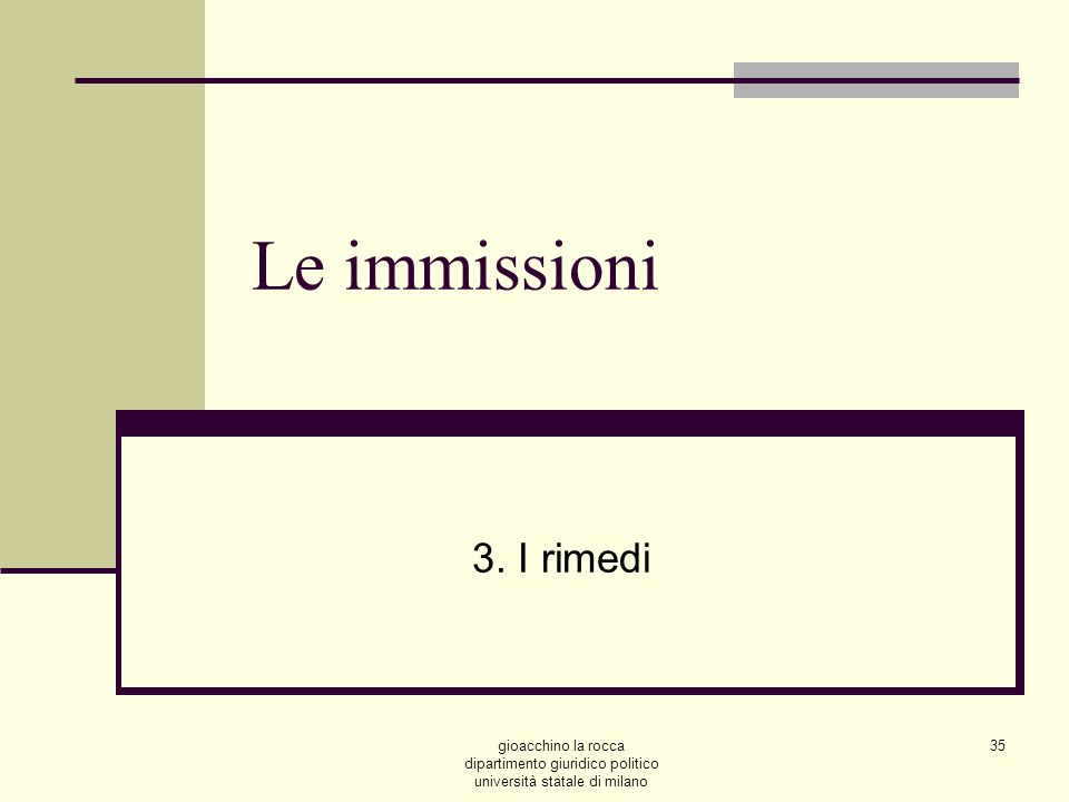 gioacchino la rocca dipartimento giuridico politico università statale di milano 35 Le immissioni 3.