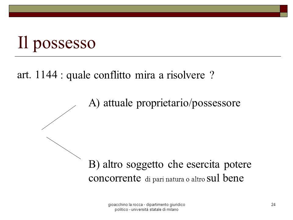gioacchino la rocca - dipartimento giuridico politico - università statale di milano 24 Il possesso art. 1144 : quale conflitto mira a risolvere ? A)