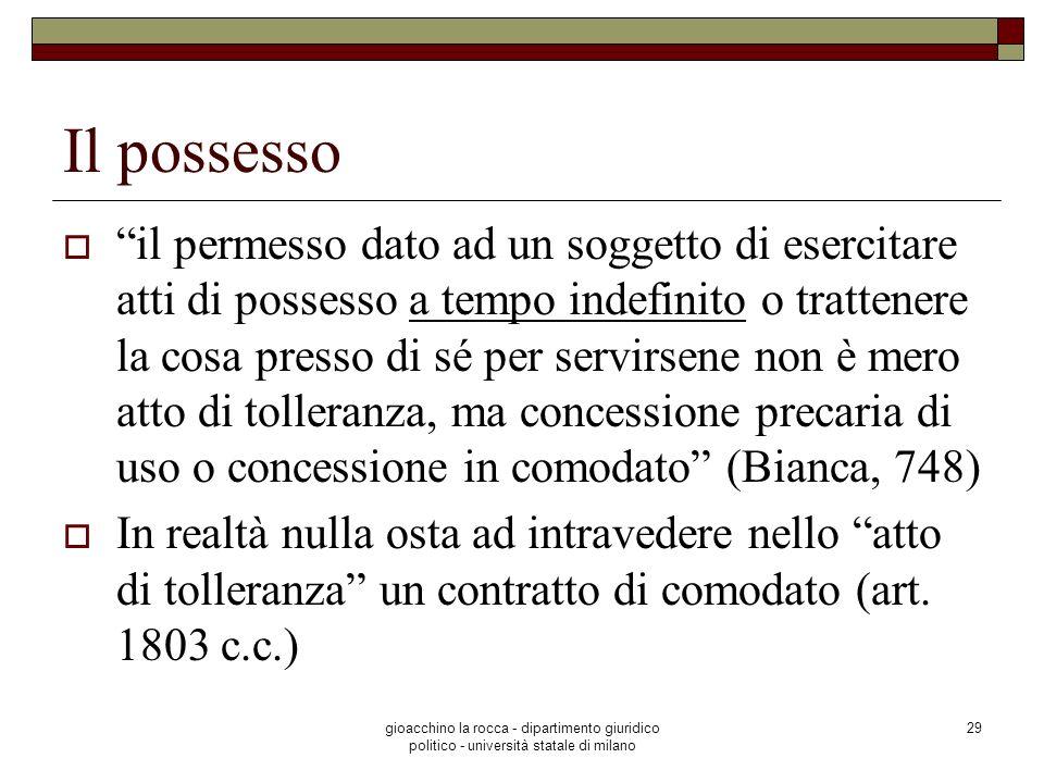 gioacchino la rocca - dipartimento giuridico politico - università statale di milano 29 Il possesso il permesso dato ad un soggetto di esercitare atti