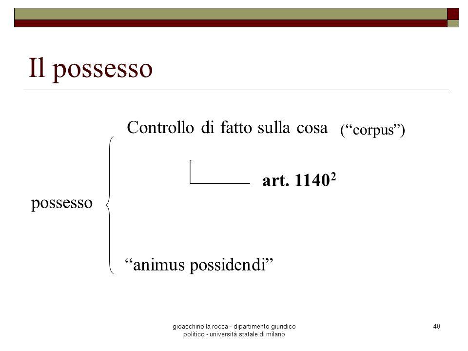 gioacchino la rocca - dipartimento giuridico politico - università statale di milano 40 Il possesso Controllo di fatto sulla cosa possesso animus poss