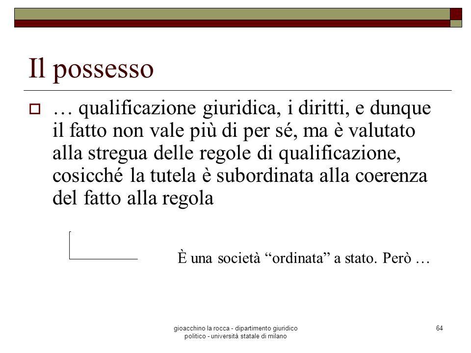gioacchino la rocca - dipartimento giuridico politico - università statale di milano 64 Il possesso … qualificazione giuridica, i diritti, e dunque il