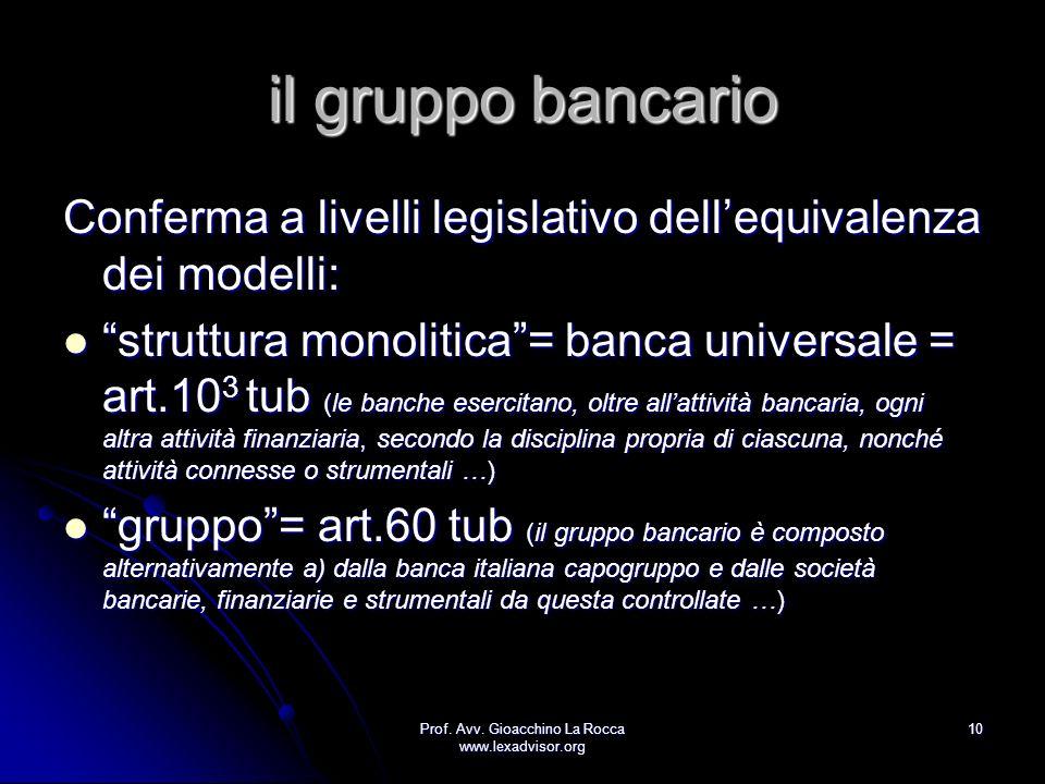 Prof. Avv. Gioacchino La Rocca www.lexadvisor.org 10 il gruppo bancario Conferma a livelli legislativo dellequivalenza dei modelli: struttura monoliti