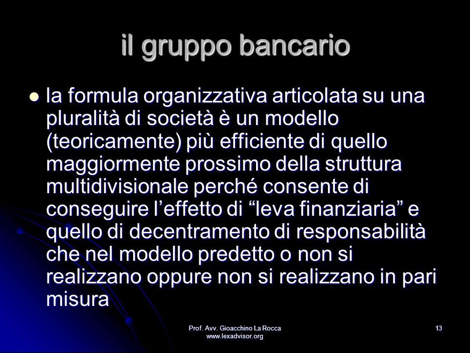Prof. Avv. Gioacchino La Rocca www.lexadvisor.org 13 il gruppo bancario la formula organizzativa articolata su una pluralità di società è un modello (