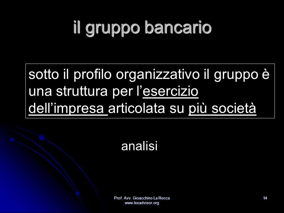 Prof. Avv. Gioacchino La Rocca www.lexadvisor.org 14 il gruppo bancario sotto il profilo organizzativo il gruppo è una struttura per lesercizio dellim