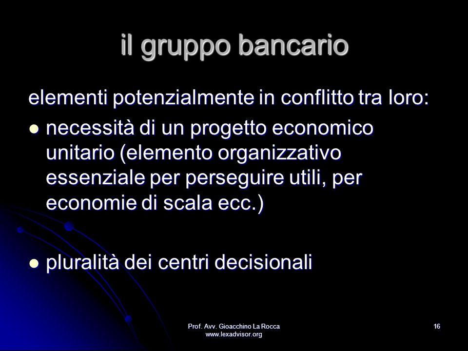 Prof. Avv. Gioacchino La Rocca www.lexadvisor.org 16 il gruppo bancario elementi potenzialmente in conflitto tra loro: necessità di un progetto econom