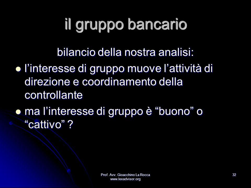 Prof. Avv. Gioacchino La Rocca www.lexadvisor.org 32 il gruppo bancario bilancio della nostra analisi: linteresse di gruppo muove lattività di direzio
