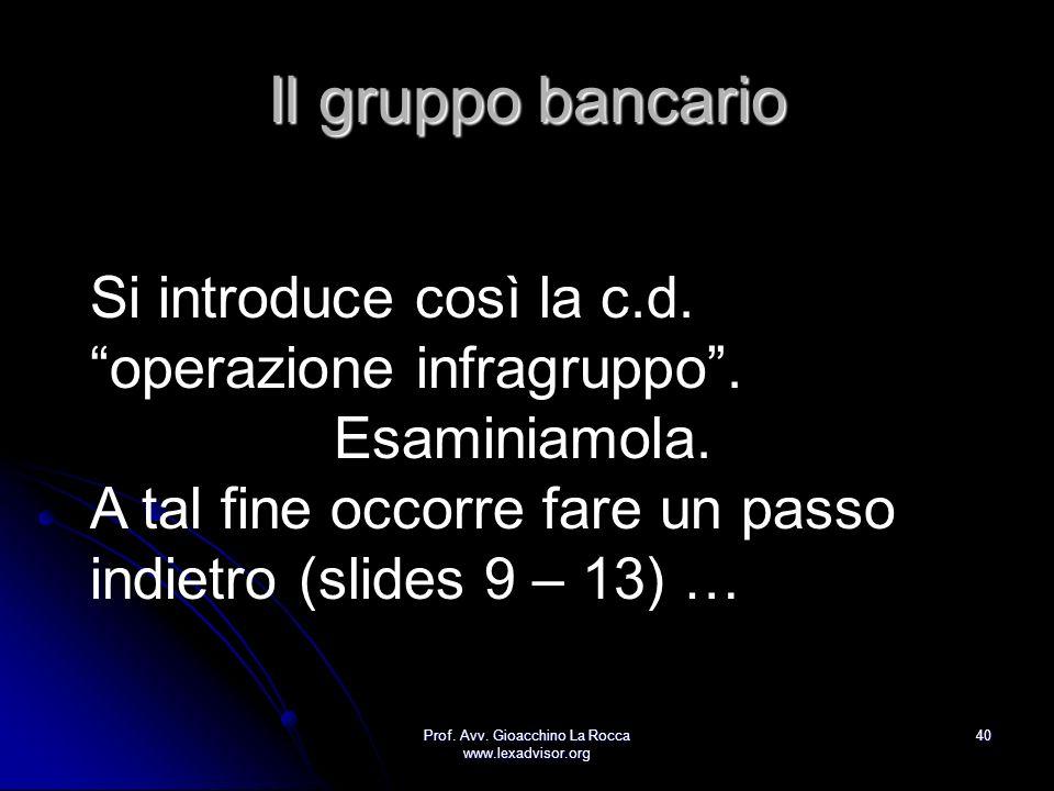 Prof. Avv. Gioacchino La Rocca www.lexadvisor.org 40 Il gruppo bancario Si introduce così la c.d. operazione infragruppo. Esaminiamola. A tal fine occ