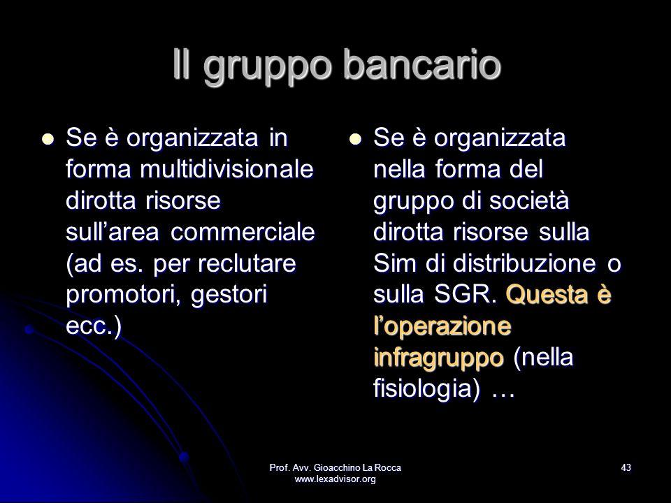 Prof. Avv. Gioacchino La Rocca www.lexadvisor.org 43 Il gruppo bancario Se è organizzata in forma multidivisionale dirotta risorse sullarea commercial