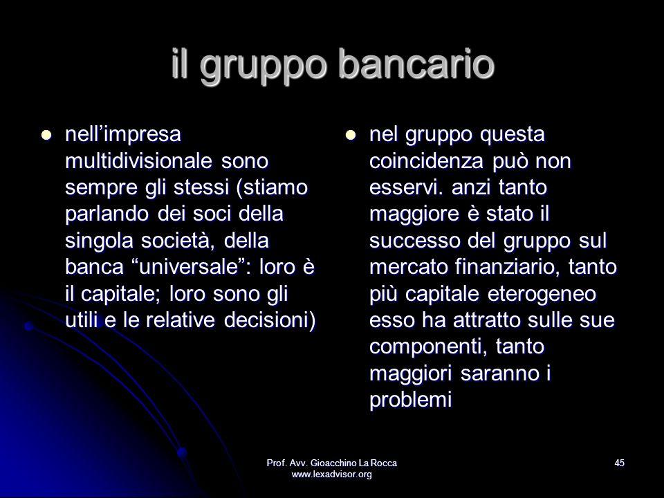 Prof. Avv. Gioacchino La Rocca www.lexadvisor.org 45 il gruppo bancario nellimpresa multidivisionale sono sempre gli stessi (stiamo parlando dei soci