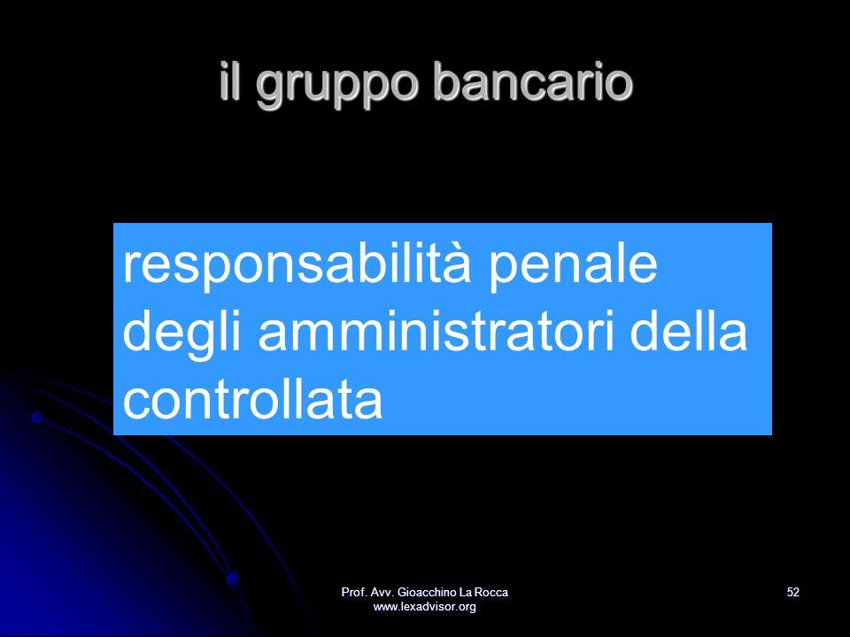 Prof. Avv. Gioacchino La Rocca www.lexadvisor.org 52 il gruppo bancario responsabilità penale degli amministratori della controllata