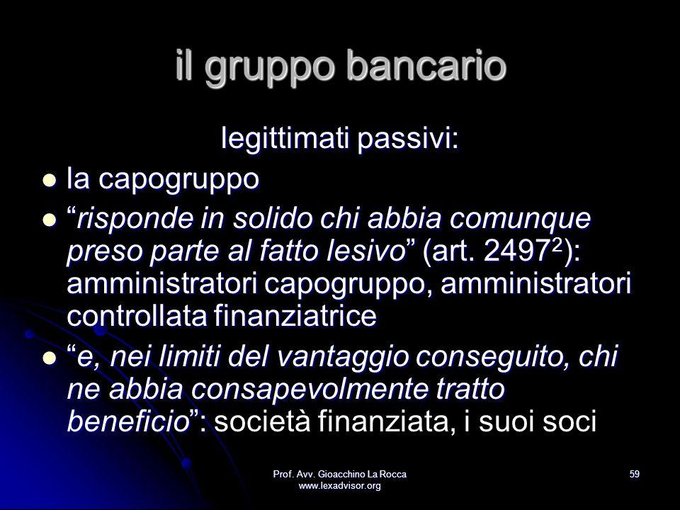 Prof. Avv. Gioacchino La Rocca www.lexadvisor.org 59 il gruppo bancario legittimati passivi: la capogruppo la capogruppo risponde in solido chi abbia