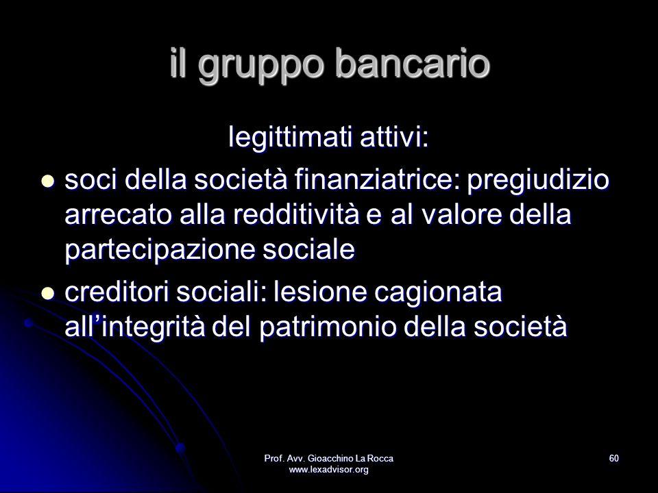 Prof. Avv. Gioacchino La Rocca www.lexadvisor.org 60 il gruppo bancario legittimati attivi: soci della società finanziatrice: pregiudizio arrecato all