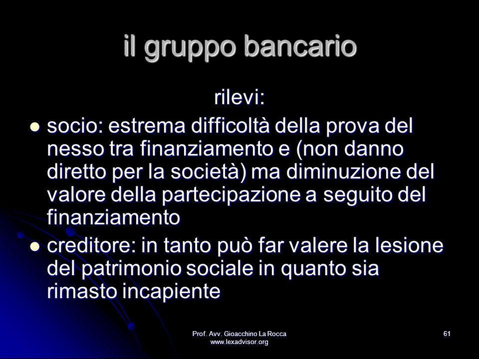 Prof. Avv. Gioacchino La Rocca www.lexadvisor.org 61 il gruppo bancario rilevi: socio: estrema difficoltà della prova del nesso tra finanziamento e (n