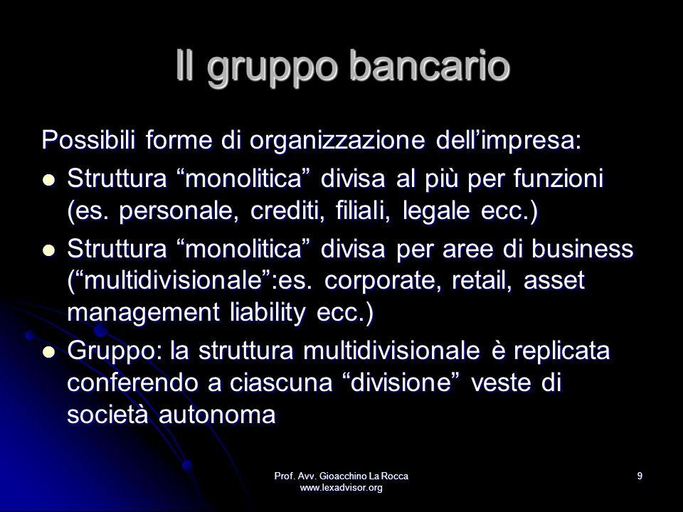 Prof. Avv. Gioacchino La Rocca www.lexadvisor.org 9 Il gruppo bancario Possibili forme di organizzazione dellimpresa: Struttura monolitica divisa al p