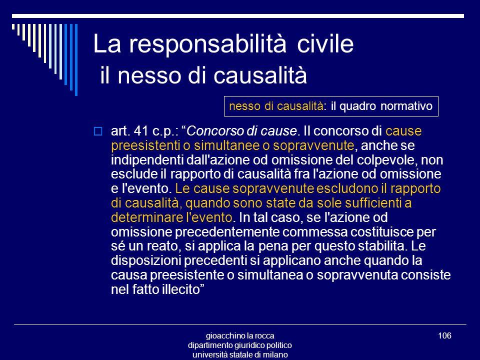 gioacchino la rocca dipartimento giuridico politico università statale di milano 106 La responsabilità civile il nesso di causalità art.
