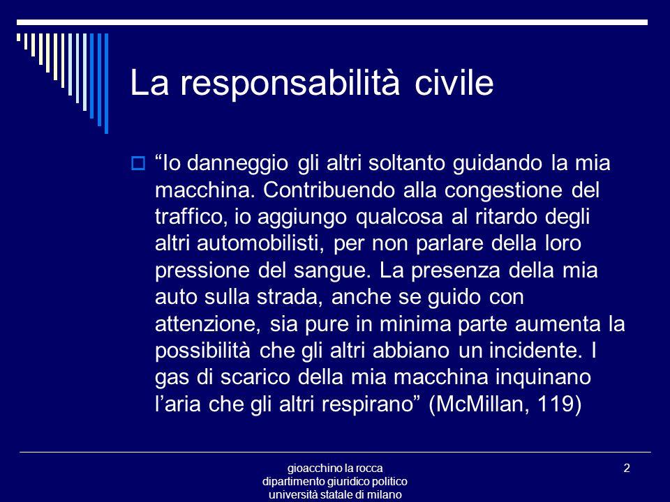 gioacchino la rocca dipartimento giuridico politico università statale di milano 2 La responsabilità civile Io danneggio gli altri soltanto guidando la mia macchina.