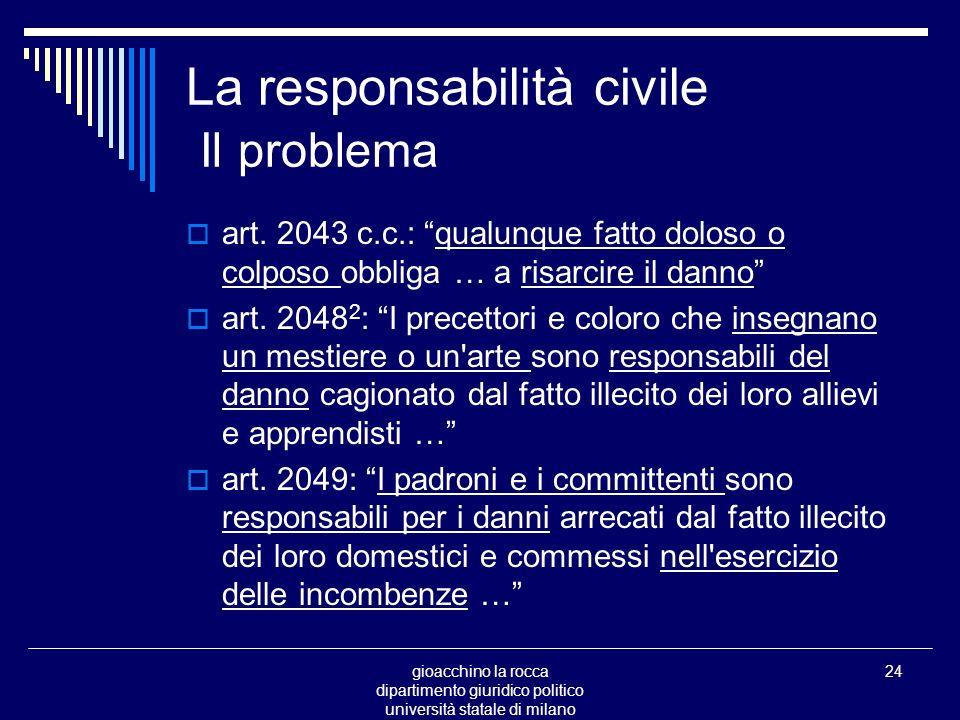 gioacchino la rocca dipartimento giuridico politico università statale di milano 24 La responsabilità civile Il problema art.