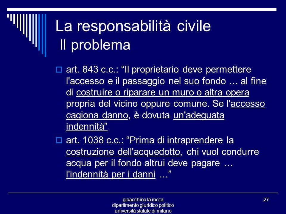 gioacchino la rocca dipartimento giuridico politico università statale di milano 27 La responsabilità civile Il problema art.