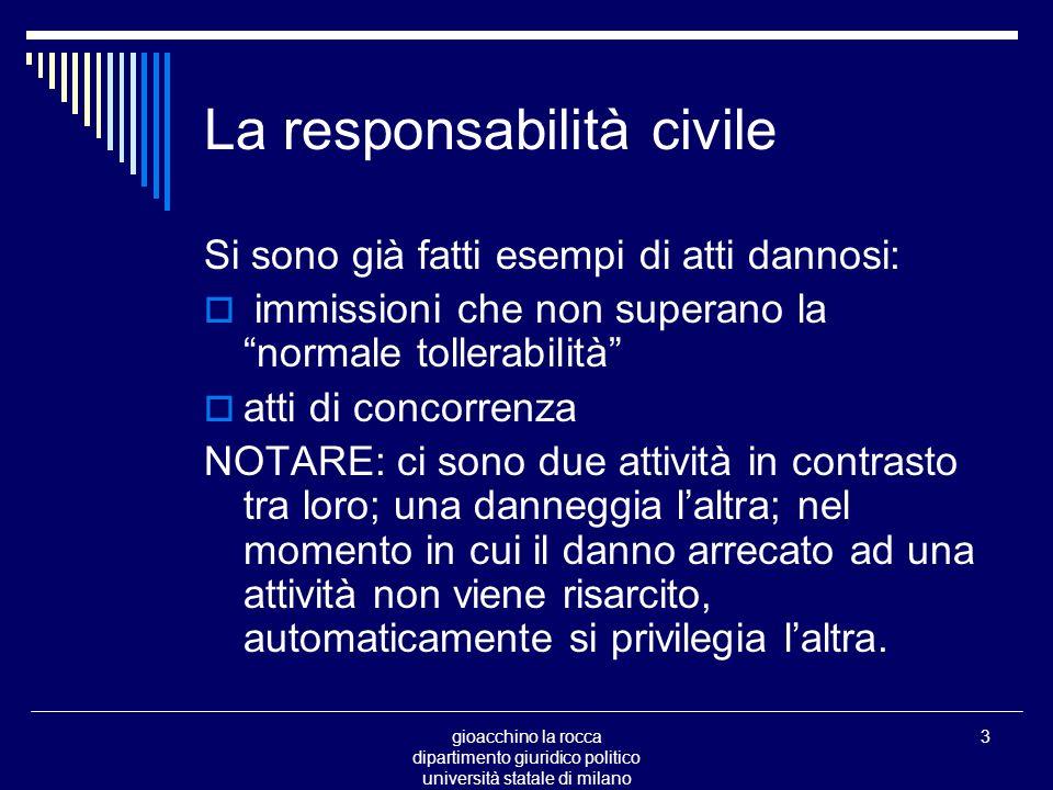gioacchino la rocca dipartimento giuridico politico università statale di milano 64 La responsabilità civile la colpa Cfr.