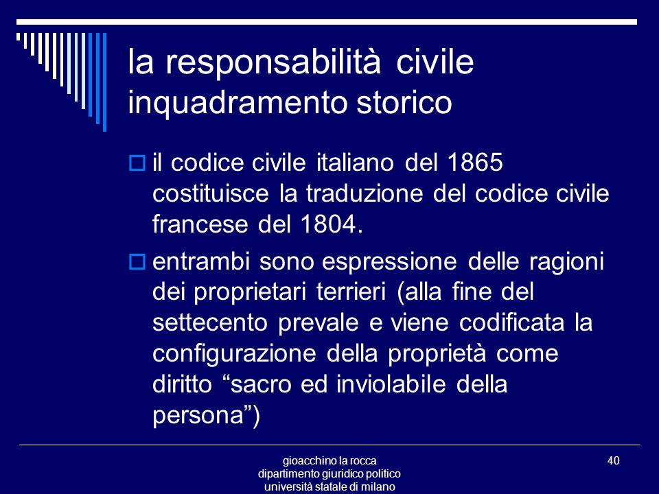 gioacchino la rocca dipartimento giuridico politico università statale di milano 40 la responsabilità civile inquadramento storico il codice civile italiano del 1865 costituisce la traduzione del codice civile francese del 1804.