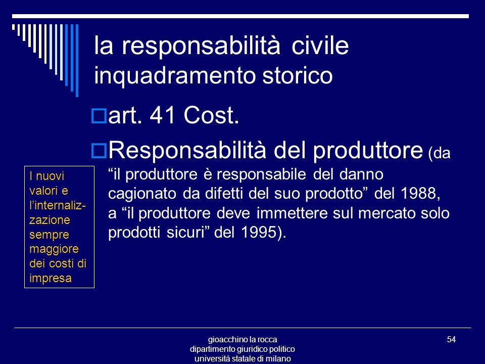 gioacchino la rocca dipartimento giuridico politico università statale di milano 54 la responsabilità civile inquadramento storico art.