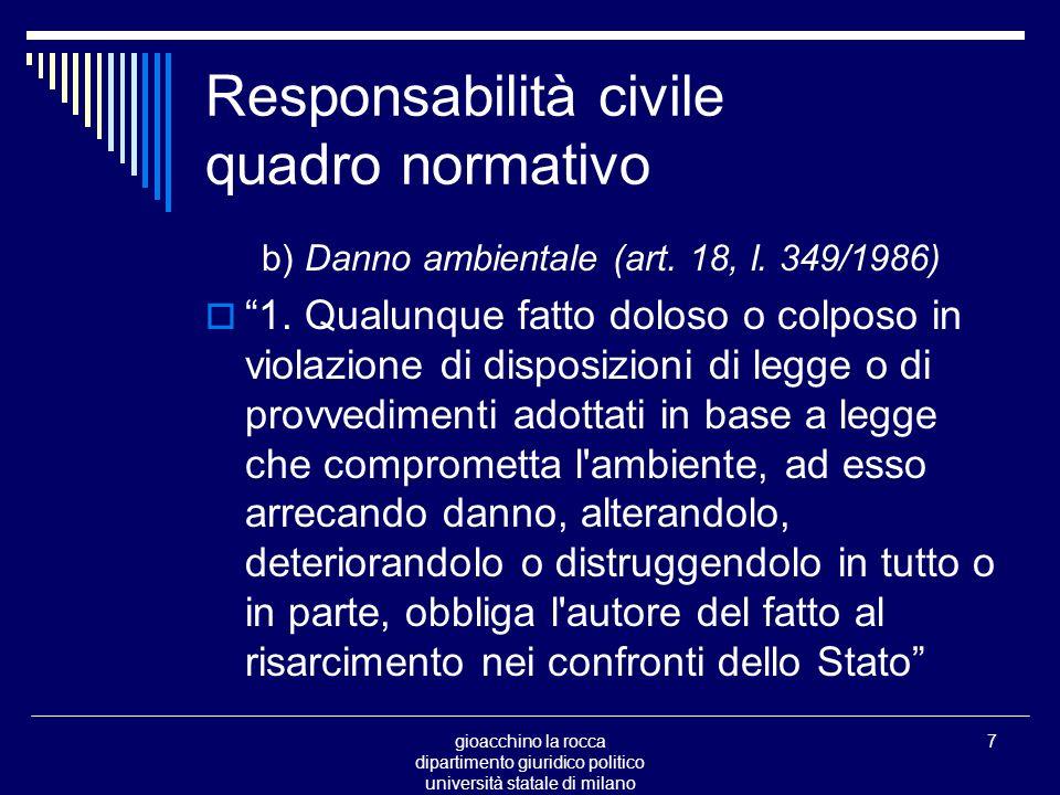 gioacchino la rocca dipartimento giuridico politico università statale di milano 7 Responsabilità civile quadro normativo b) Danno ambientale (art.