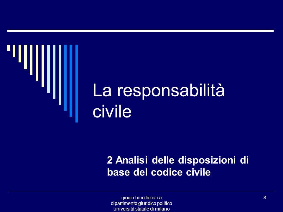 gioacchino la rocca dipartimento giuridico politico università statale di milano 29 La responsabilità civile Il problema art.