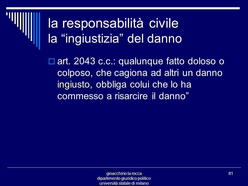 gioacchino la rocca dipartimento giuridico politico università statale di milano 81 la responsabilità civile la ingiustizia del danno ingiusto art.