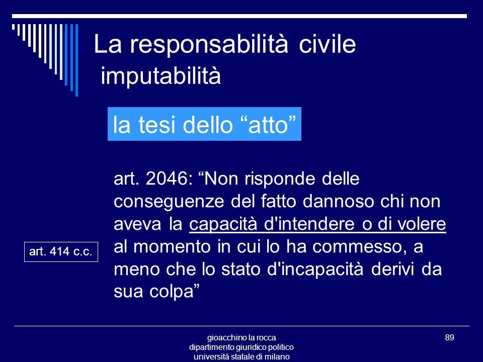 gioacchino la rocca dipartimento giuridico politico università statale di milano 89 La responsabilità civile imputabilità art.