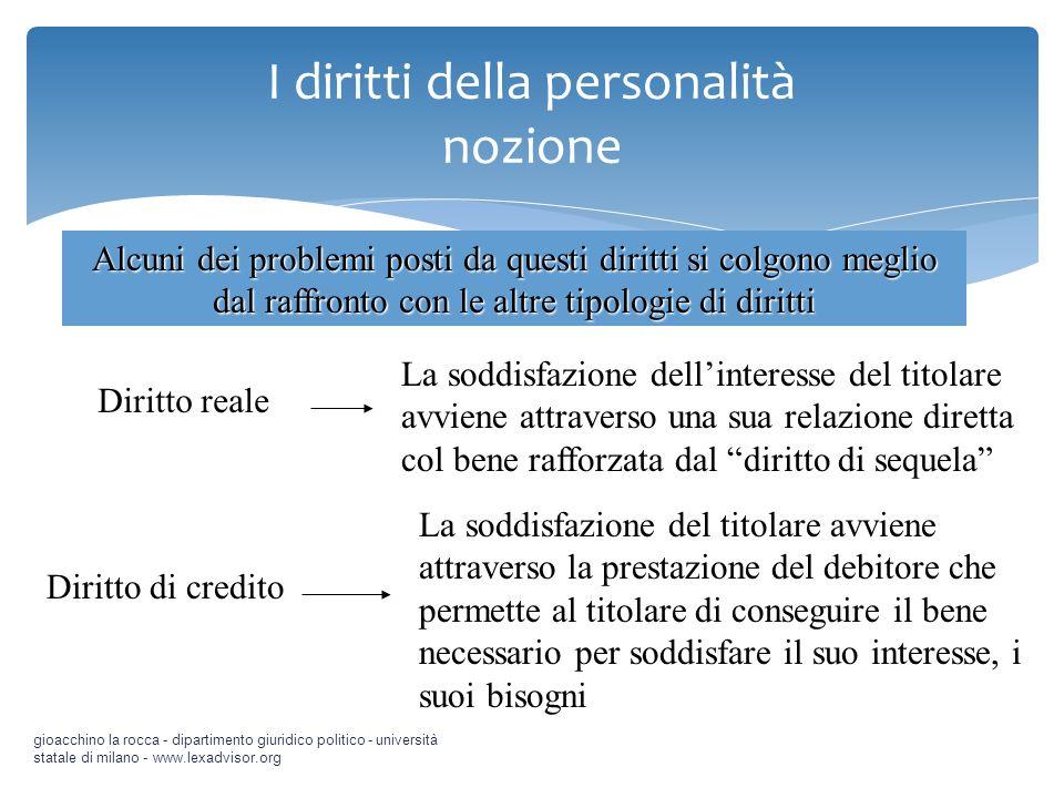 I diritti della personalità nozione gioacchino la rocca - dipartimento giuridico politico - università statale di milano - www.lexadvisor.org Alcuni d